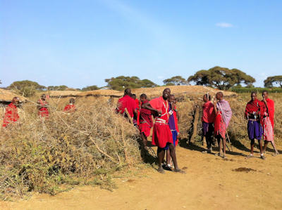 Maasai greeting us at the manyatta